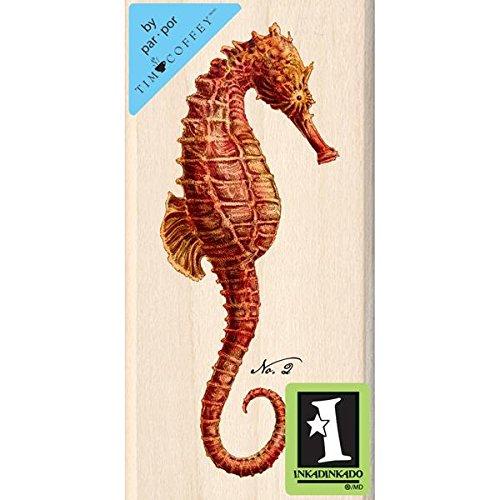 Inkadinkado Tim Coffey Wood Stamp, Red Seahorse