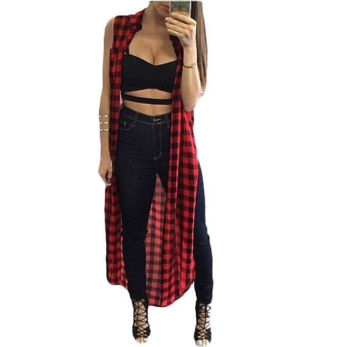 Amazon.com: Vestido de mujer, goodlock largo Plaid camisa de ...