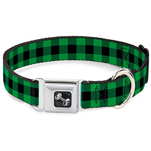 Buckle-Down Seatbelt Buckle Dog Collar - Buffalo Plaid Black/Neon Green - 1