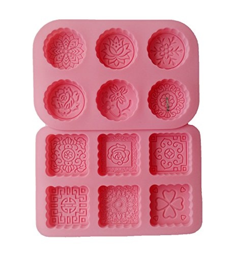 Yunko 6 Cavity Mooncake Silicone Chocolate Muffin Cupcake Soap Mold Pan Round and Square (Lotus)