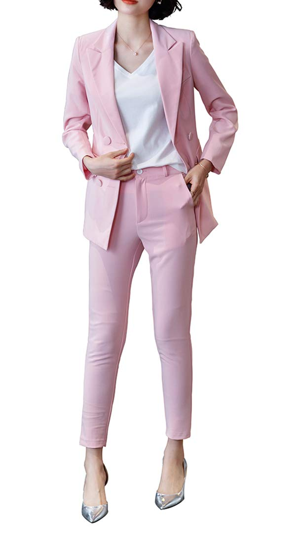 Women's Two Pieces Blazer Office Lady Suit Set Work Blazer Jacket and Pant (Pink, L)