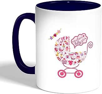 كوب سيراميك للقهوة بتصميم عربة مولود جديد، لون ازرق