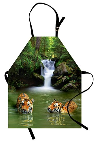 (Ambesonne Safari Apron, Siberian Tigers in Water Waterfall Pool Woodland Swimming Asian Natural Unisex Kitchen Bib Apron with Adjustable Neck for Cooking Baking Gardening, Green White)