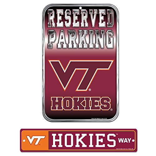 (WinCraft Bundle - 2 Items: Virginia Tech Plastic Street Sign and Reserved Parking Sign)