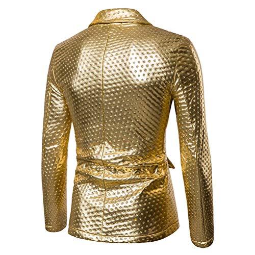 Botón Shiney Esencial Chaqueta Hombres Oro Blazer Trajes Club De Abrigos Amarillo Corto Negocios Solo Traje Un Negro Night Abrigo Y77qfOw