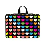 Neoprene Laptop Carrying Case Sleeve Bag w. Hidden Handle and Eyelet (D-Ring) for 17 17.3 Inch Notebook – Rainbow Heart Design