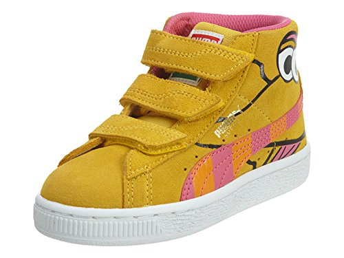 Sesame Street Sneakers Shoes - PUMA Sesame Street Suede Mid Kids Sneaker (Toddler/ Little Kid/ Big Kid), Dandelion/Fandango Pink, 3 M US Little Kid
