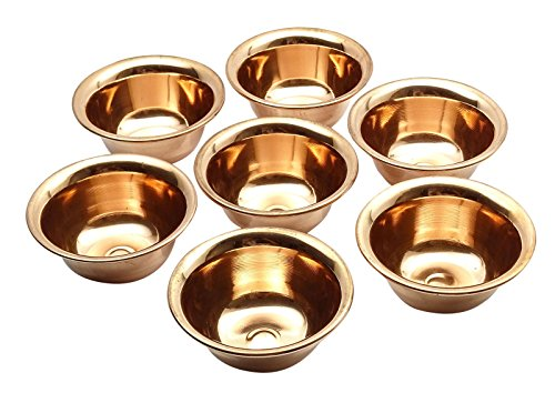 - Kitchen Traditional Indian Copper Antique Serving Bowl Set of 7 Pieces