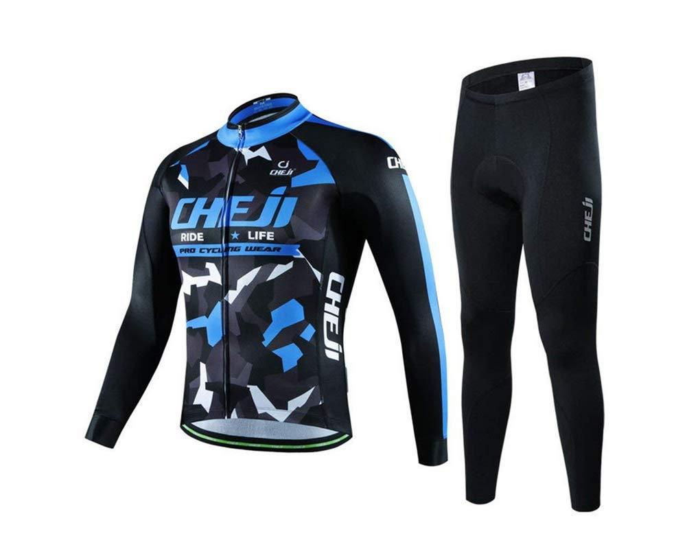 Herren Long Sleeve Cycling Kleiderset, 3D Winter Warm Schlanke Sportswear