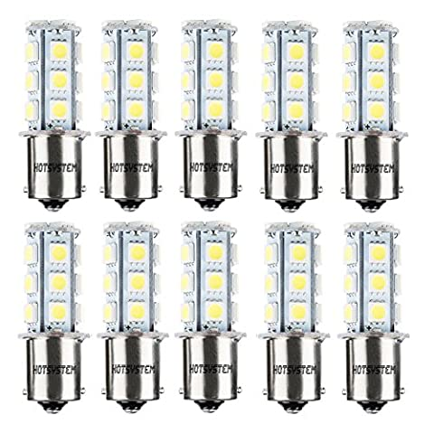 HOTSYSTEM 12V 1156 7506 1003 1141 LED SMD 18 LED Bulbs Interior RV Camper White 10-pack (1156 Led Bulb Replacement)