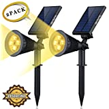 Solar LED Lights- (2 Pack) [3rd Generation] Siensync(TM) 2-in-1 Solar Powered Outdoor Spotlight (Warm White LEDs) for Landscape Lighting Waterproof Wall Light Bulb Driveway Yard Lawn Pathway Garden