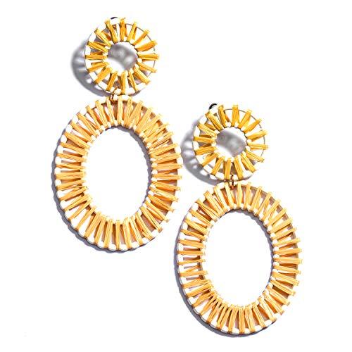 - Enameljewelries Rainbow Rattan Drop Earrings Handmade Raffia Geometric Earrings Lightweight Colorful Straw Dangle Earrings for Women (B4#Raffia Brown)