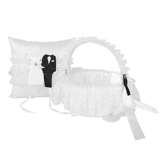 Almohada de boda Conjunto de almohada de anillo de cesta ...