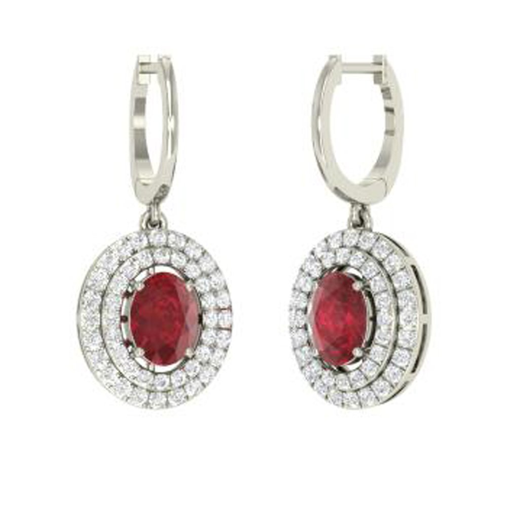 Dividiamonds Solid 14K Gold Plated Sterling 3.92 Carat Oval /& Round Cut Ruby /& Sim Diamond Drop Earrings