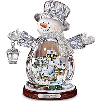 Thomas Kinkade Crystal Snowman Figurine Featuring Light-Up Village And Animated Train by The Bradford Editions (1)