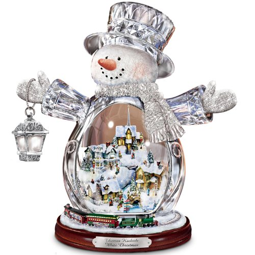 Snowman Snowglobe Christmas Figurine - Thomas Kinkade Crystal Snowman Figurine Featuring Light-Up Village And Animated Train by The Bradford Editions