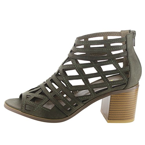 Betani Ei25 Mujeres Peep Toe Cut Out Back Zipper Block Heel Cage Botines De Tobillo De Oliva