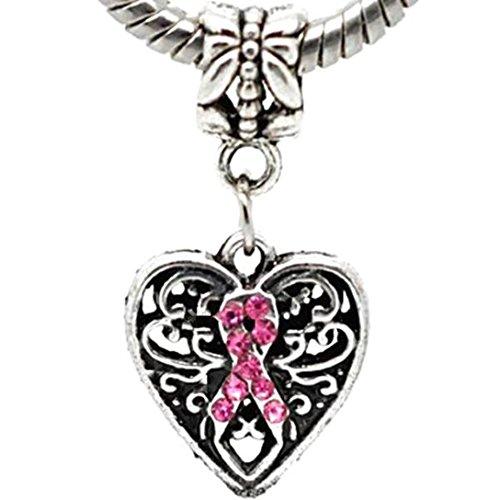Charm Buddy Pink Crystal Awarenss Ribbon Heart Dangle Charm Fits Pandora Style Bracelets