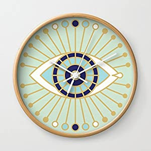 Society6 Evil Eye Collection Wall Clock Natural Frame, White Hands