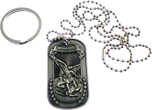 Pewter Pendant Keychain - Christian Christ Religion Jesus St Michael Archangel Double Sided Pewter Logo Symbols - All Metal Military Dog Tag Luggage Tag Key Chain Metal Chain Necklace