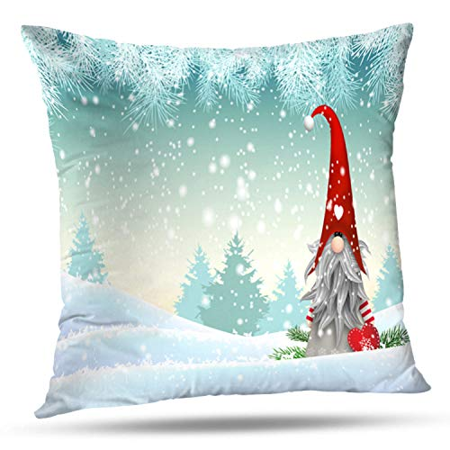 LALILO Throw Pillow Covers, Traditional Christmas Standing Winter Landscape Christmas with Double-Sided Pattern for Sofa Cushion Cover Couch Decoration Home Gift Bed Pillowcase 18x18 inch]()
