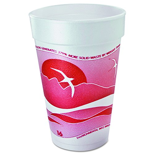 (Dart 16J16H Horizon Foam Cup, Hot/Cold, 16oz., Printed, Cranberry/White, 25 per Bag (Case of 40))