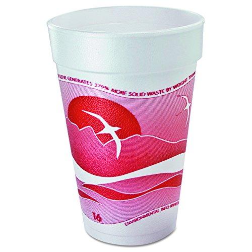 Dart 16J16H Horizon Foam Cup, Hot/Cold, 16oz., Printed, Cranberry/White, 25 per Bag (Case of 40) Dart Horizon Foam Cup