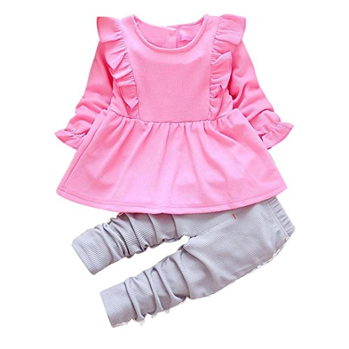 FEITONG Toddler Baby Girls Long Sleeve Tops+Lace Pants Clothes Set (1Year, Hot Pink) for $<!--$10.20-->