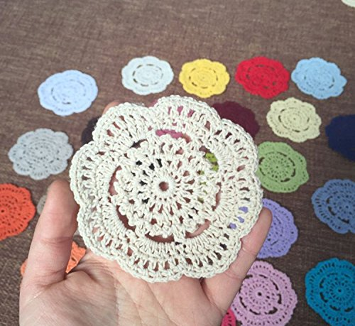 (Ustide 12PC Vintage Hand Crochet Round Cup Mat Beige Table Doilies Table Placements, 4 inches)