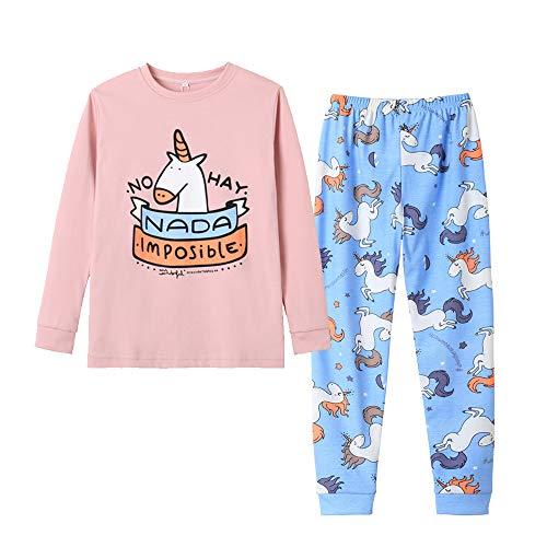 Vopmocld Big Girls Cute White Horse Sleepwear Cotton Pajama Set Pants & Long Sleeve Teens Kids Size 12-18