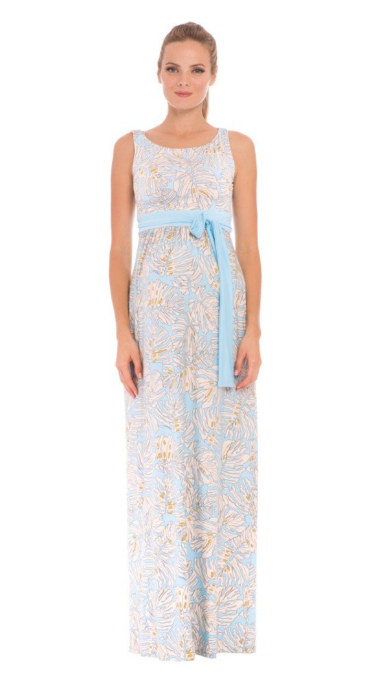 The Sleeveless Boat Neck Maxi Print Dress