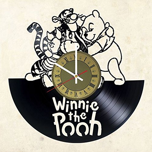 STP Cat Winnie Pooh Teddy Bear Vinyl Wall Clock - Handmade Artwork Home Bedroom Living Kids Room Nursery Wall Decor Great Gifts idea for Birthday, Wedding, Anniversary - Customize Your (Gold/White)