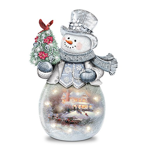 Thomas Kinkade Frosted Glass Snowman Sculpture Lights Up by The Bradford Exchange