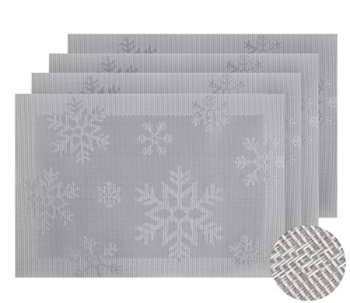 Deconovo Durable Placemats for Dinning Table Premium PVC Place Mats Heat Insulation Stain-Resistant Spillproof Table Pads Set of 4 Sliver Snowflake 12x18 Inch