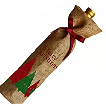 Amore Beaute Merry Christmas Natural Burlap Wine Bag Set with Grosgrain Ribbon - Handcrafted Wine Gift Bags - Wine Bottle Cover - Wine Gift for Hostess Gift, Holidays, Christmas (7)