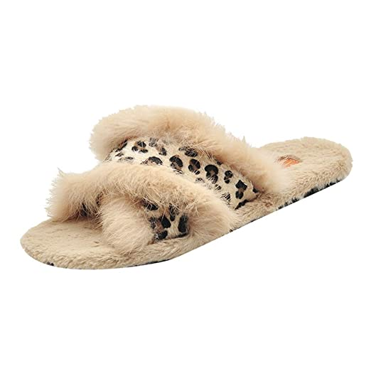 217c0888c2db3 Fashion Warm Flat Bottom Home Slippers Women Comfortable Open Toe Cross Fur  Shoes