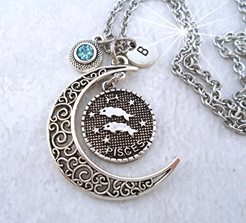 Pisces the Fish Filigree Crescent Zodiac Necklace with Letter Charm and Swarovski Birthstone Crystal, February Birthday, March Birthday * Hand-crafted with lOve!