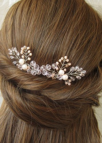 Kercisbeauty (Set of 2) Handmade Bridal Bridesmaids Flower Girl Simple Pink Champange Crystal Hair Pins Headpiece for Wedding and Party (Gold)