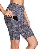 Oalka Women's Yoga Short Side Pockets High Waist Workout Running Shorts Space Dye Camo Multicolor M