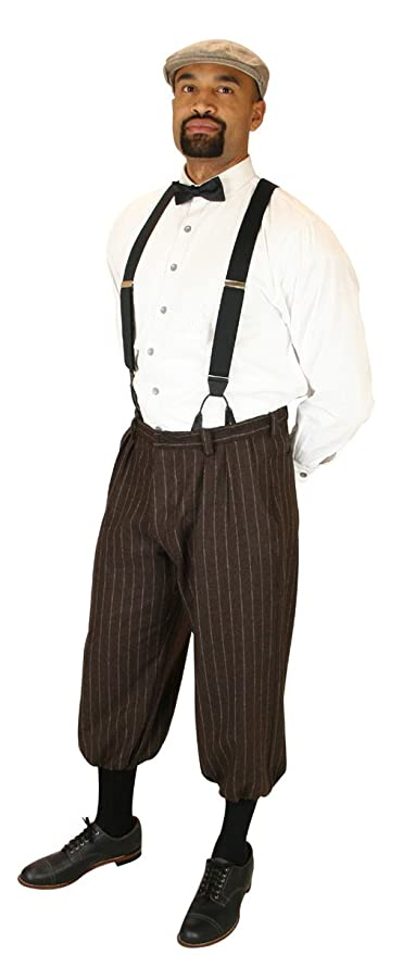 Edwardian Men's Pants Mens Wool Blend Striped Drummond Knickers $64.95 AT vintagedancer.com
