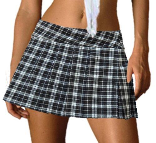 Black and White Schoolgirl Tartan Plaid Pleated Mini Skirt Henley
