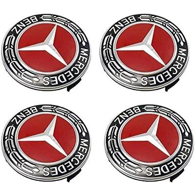 Sparkle-um 9-Piece Set 75mm Mercedes Benz Emblem Badge Wheel Hub Caps Centre Cover +Tire Valve Stem Caps Cover with Mercedes Keychain for Mercedes Benz.(Red): Automotive