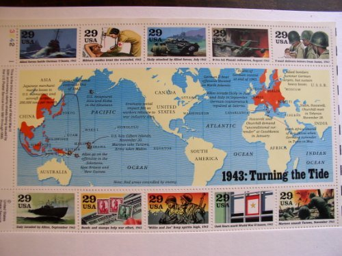 US Stamp - 1993 WWII 1943 Turning the Tide - Block of 10 Stamps - #2765