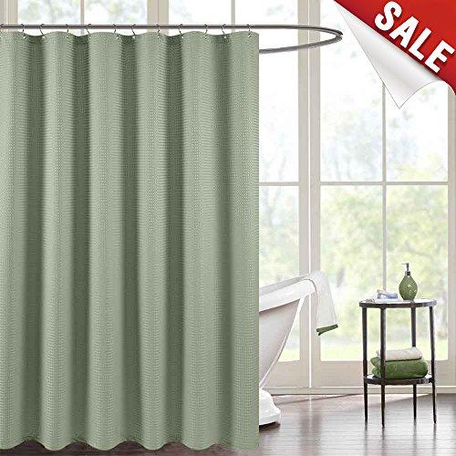 jinchan Waterproof Shower Curtain Olive Waffle Weave Fabric Shower Curtain Rust-Resistant Metal Grommets Top for Bathroom Green 70x72