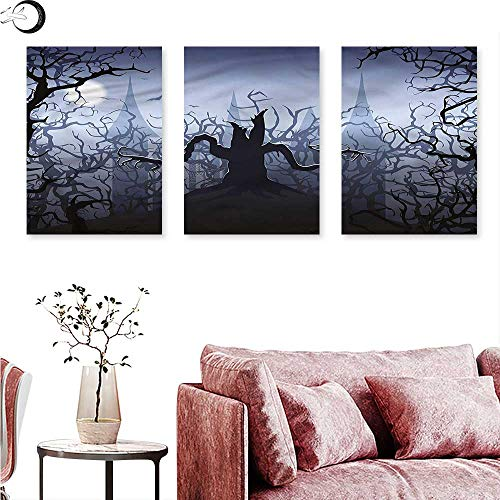Anniutwo Halloween Abstract Painting Dark Forest with Swirl