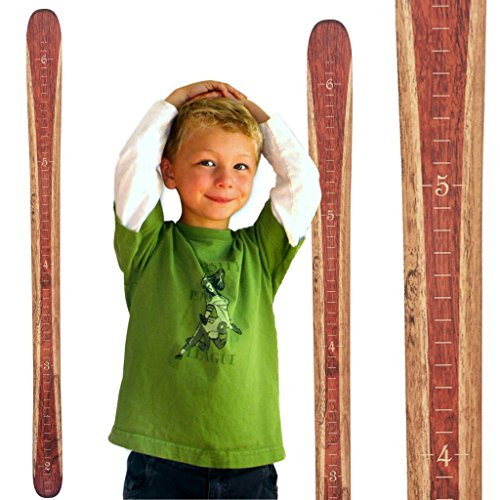 Growth Chart Art | Wooden Ski Growth Chart | Baby Skis | Ski Gifts | Wall Hanging Wood Height Chart for Measuring Kids, Children, Boys, Girls | Rust Red (Thank You Gifts For Grandparents)