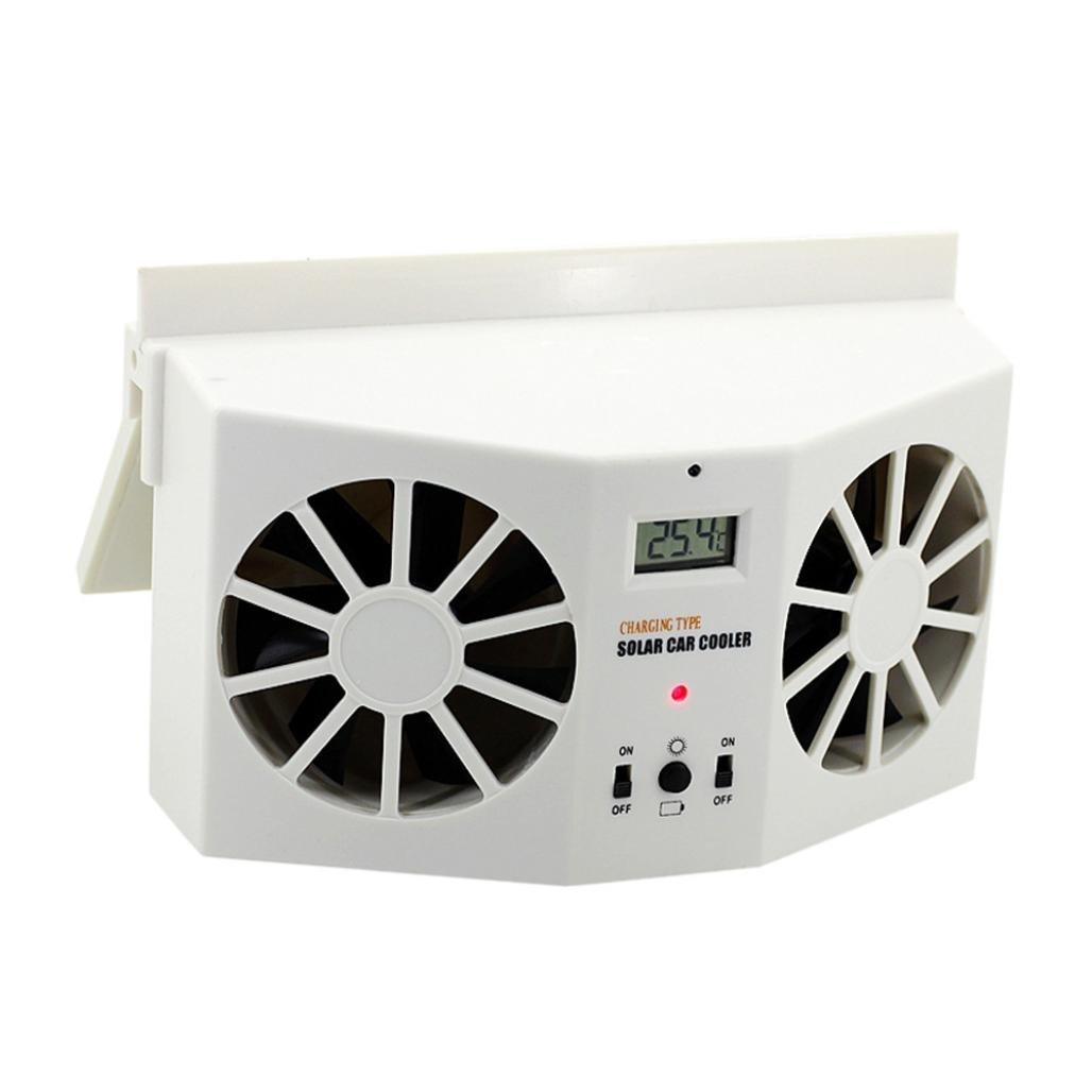 bestpriceam Solar Dual Fan Car Front/Rear Window Air Vent Cool Cooler Fan Windshield Fan (White)