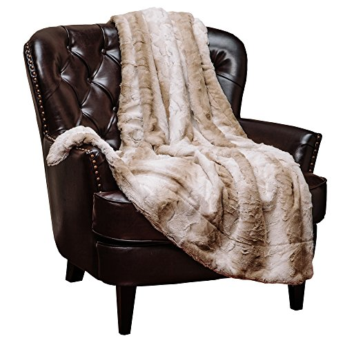 Chanasya Super Soft Fuzzy Fur Elegant Throw Blanket | Faux Fur Falling Leaf Pattern With Fluffy Plush Sherpa Cozy Warm Brown Microfiber Blanket for Bed Couch Living Bed Room - Coffee and White
