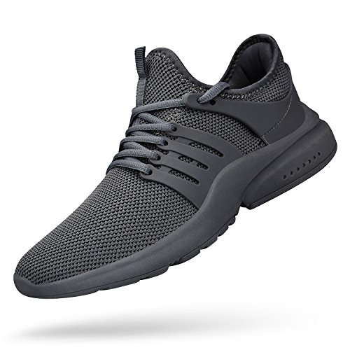 ZOCAVIA Men's Running Shoes Lightweight Breathable Casual Gym Shoes Fashion Sneakers Gray Gray 9 D(M) US (Light Gray Mens Shoes)