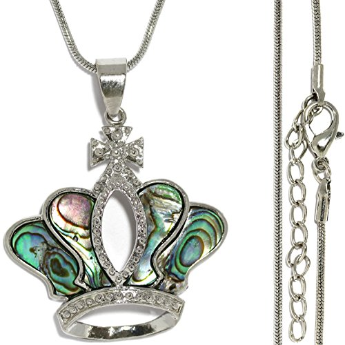 AnsonsImages Religious Crown Cross Pendant Green Abalone Silver Tone 20